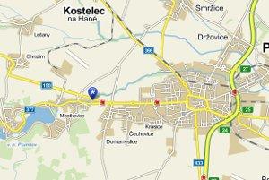 Mapka adresy fasády Prostějov